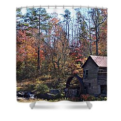 Rustic Water Mill In Autumn Shower Curtain by William Tanneberger