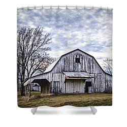 Rustic White Barn Shower Curtain
