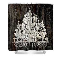 Rustic Shabby Chic White Chandelier On Wood Shower Curtain