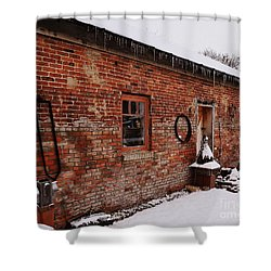 Rustic Workshop In Winter Shower Curtain