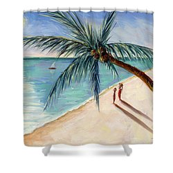 Rustling Palm Shower Curtain by Tilly Willis