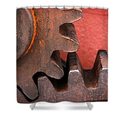 Rusty And Metallic Gear Wheel Shower Curtain