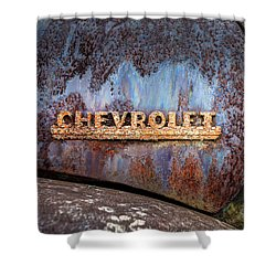 Shower Curtain featuring the photograph Rusty Chevrolet - Nameplate - Old Chevy Sign by Gary Heller
