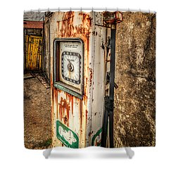 Rusty Gas Pump Shower Curtain by Adrian Evans
