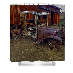 Rusty Old Vintage Car Shower Curtain by R Muirhead Art