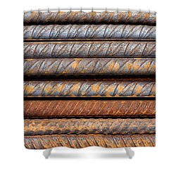 Rusty Rebar Rods Metallic Pattern Shower Curtain
