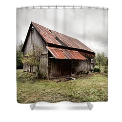 Shower Curtain featuring the photograph Rusty Tin Roof Barn by Gary Heller