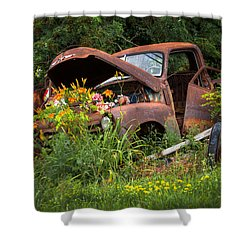 Shower Curtain featuring the photograph Rusty Truck Flower Bed - Charming Rustic Country by Gary Heller