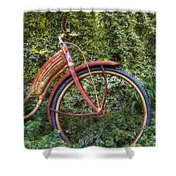 Rusty Wheel Shower Curtain by Debra and Dave Vanderlaan
