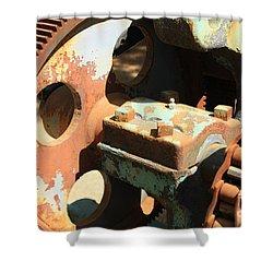 Rusty Wheel Gear Shower Curtain by Carol Groenen