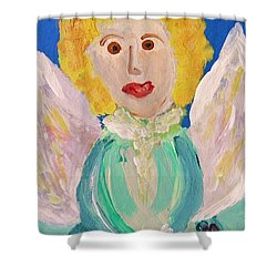 Shower Curtain featuring the painting Ruth E. Angel by Mary Carol Williams