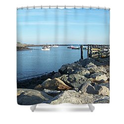 Rye Harbor  Shower Curtain by Eunice Miller