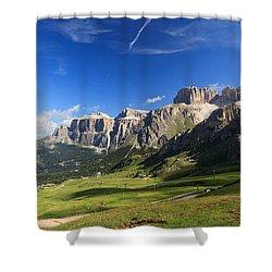 Saas Pordoi And Fassa Valley Shower Curtain