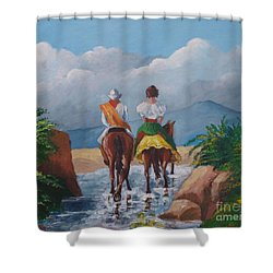 Sabanero And Wife Crossing A River Shower Curtain