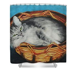 Sabrina In Her Basket Shower Curtain by Jeanne Fischer