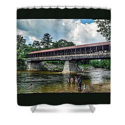 Shower Curtain featuring the photograph Saco River Covered Bridge  by Debbie Green