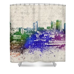 Sacramento City Skyline Shower Curtain by Aged Pixel