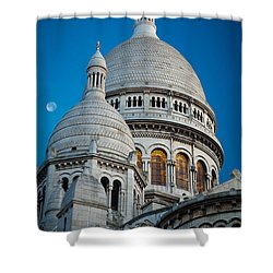 Sacre-coeur And Moon Shower Curtain by Inge Johnsson