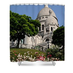 Sacre Coeur Flowers Shower Curtain by Jeremy Voisey