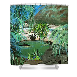 Shower Curtain featuring the painting Sacred Cenote At Chichen Itza by Alys Caviness-Gober
