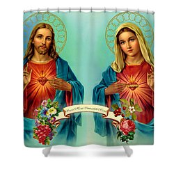 Sacred Heart Immaculate Heart  Shower Curtain