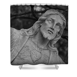 Sacred Heart Of Jesus - Bw Shower Curtain