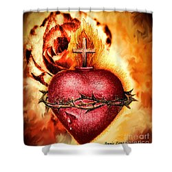 Sacred Heart Of Jesus Christ With Rose Shower Curtain by Annie Zeno