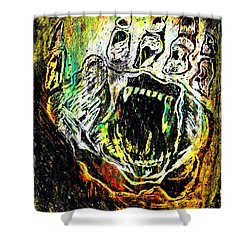 Shower Curtain featuring the painting Sacred Paw Impression by Ayasha Loya