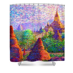 Shower Curtain featuring the painting Bagan, Burma, Sacred Spires by Jane Small