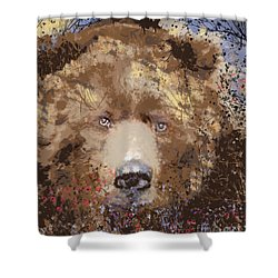 Shower Curtain featuring the digital art Sad Brown Bear by Kim Prowse