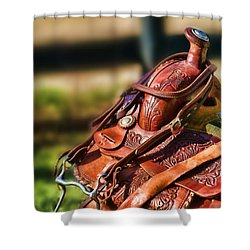 Saddle In Waiting Western Saddle Horse Shower Curtain by Eleanor Abramson