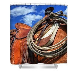 Saddle Up Shower Curtain by Bob Christopher