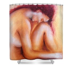 Shower Curtain featuring the painting Sadness by Jasna Dragun