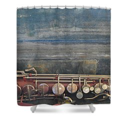 Shower Curtain featuring the photograph Safe Sax In Vegas by Brian Boyle
