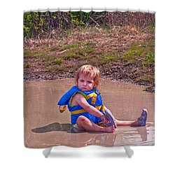 Safety Is Important - Toddler In Mudpuddle Art Prints Shower Curtain by Valerie Garner
