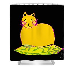 Saffron Cat On Black Shower Curtain