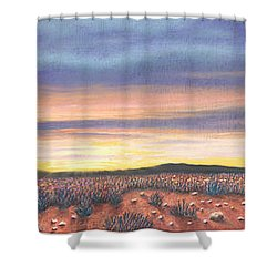 Sagebrush Sunset Triptych Shower Curtain