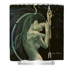 Sagittarius From Zodiac Series Shower Curtain by Dorina  Costras