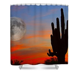 Saguaro Full Moon Sunset Shower Curtain
