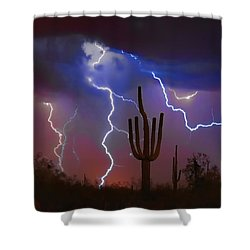 Saguaro Lightning Nature Fine Art Photograph Shower Curtain by James BO  Insogna