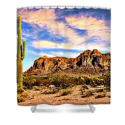 Saguaro Superstition Mountains Arizona Shower Curtain by Bob and Nadine Johnston