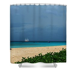 Sail Away Shower Curtain by Catie Canetti