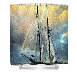 Sail Away To Avalon Shower Curtain by Taylan Apukovska
