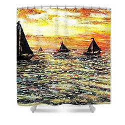 Shower Curtain featuring the painting Sail Away With Me by Shana Rowe Jackson