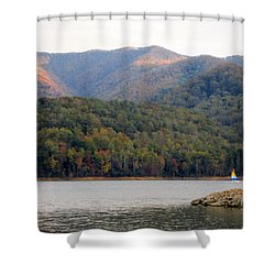 Sail Boat And Mountains Shower Curtain