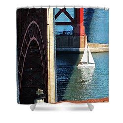 Sail Boat Passes Beneath The Golden Gate Bridge Shower Curtain