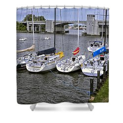 Sail Boats 4 In A Row Shower Curtain by Thomas Woolworth