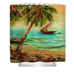 Shower Curtain featuring the painting Sail Boats On Indian Ocean  by Sher Nasser