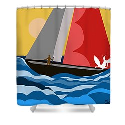 Sail Day Shower Curtain by Christine Fournier
