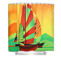 Shower Curtain featuring the painting Sail To Shore by Tracey Harrington-Simpson